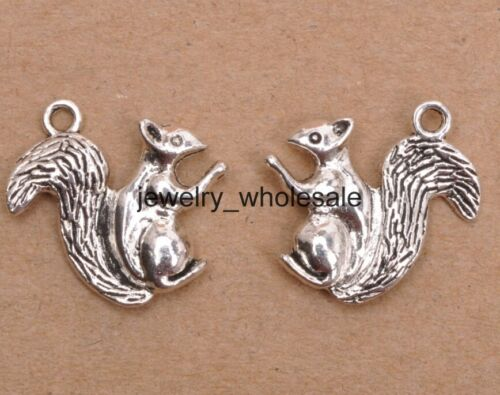 15pcs Tibetan Silver Fashion Squirrel Charms Pendants 21x18mm Jewelry D3188