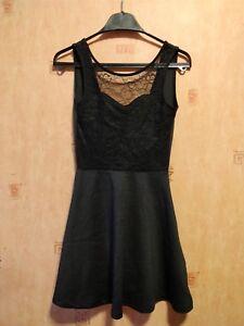 ab96160d6959 H&M Divided Little Black Dress Lace Skater Summer Open Back Size 6 ...