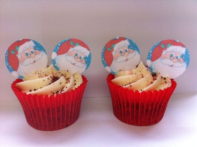 * PRE-CUT * Father Christmas Santa Xmas Edible Wafer Paper Cupcake Toppers x 24