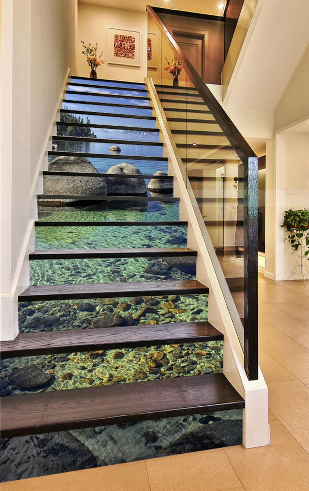3D Meer Stein 684 Stair Risers Dekoration Fototapete Vinyl Aufkleber Tapete DE