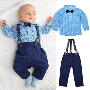 La Foto Se Está Cargando Gentleman Infant Baby Boy Suspenders Outfit Set Dress