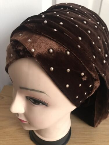 Women Plain color Velvet Head Wrap Turban Hijab Cap Long Tube Head Scarf Tie