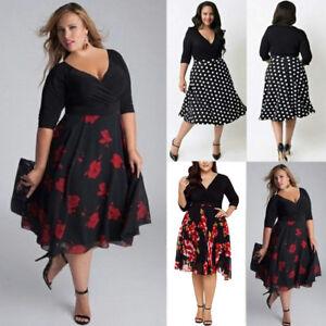 Plus-Size-Fashion-Womens-Long-Prom-V-Neck-Cocktail-Ladies-Party-Swing-Dress-AU