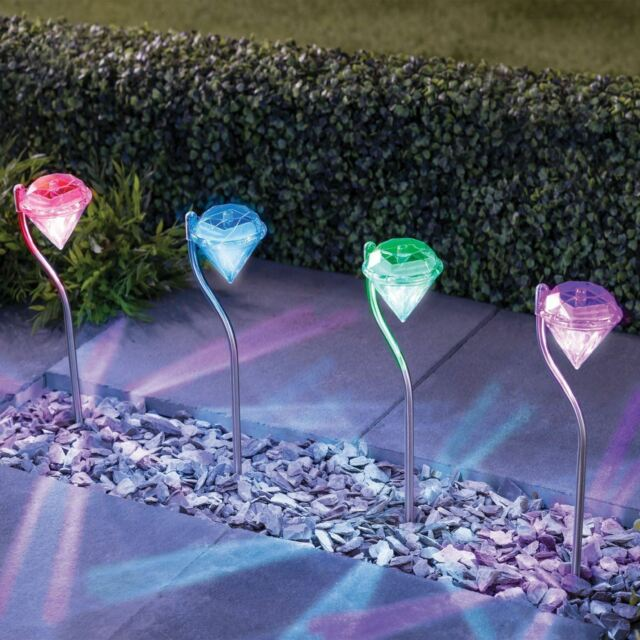 4 x Diamond Stainless Steel Solar Powered Lights LED outdoor Garden Lantern