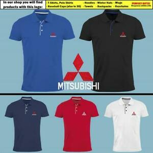 Mitsubishi-Slim-Fit-Polo-T-Shirt-EMBROIDERED-Auto-Car-Logo-Tee-Mens-Clothing
