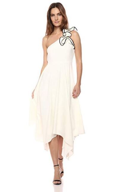 5c7b910a NEW HALSTON HERITAGE WOMENS ONE SHOULDER RUFFLE CREPE GOWN - CHALK/BLACK
