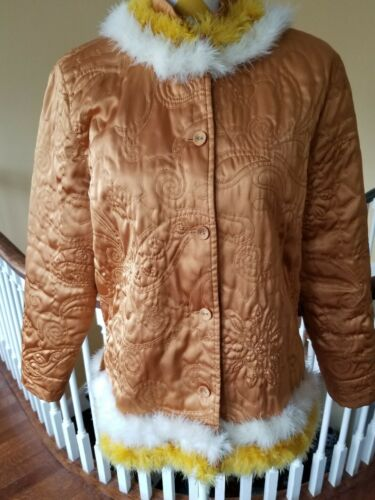 Glamorous Vintage Gold Quilted Robe Bed Jacket wit