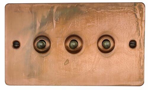 G/&h FTC283 plat plaque ternie cuivre 3 Gang 1 Ou 2 Way Toggle interrupteur de lumière