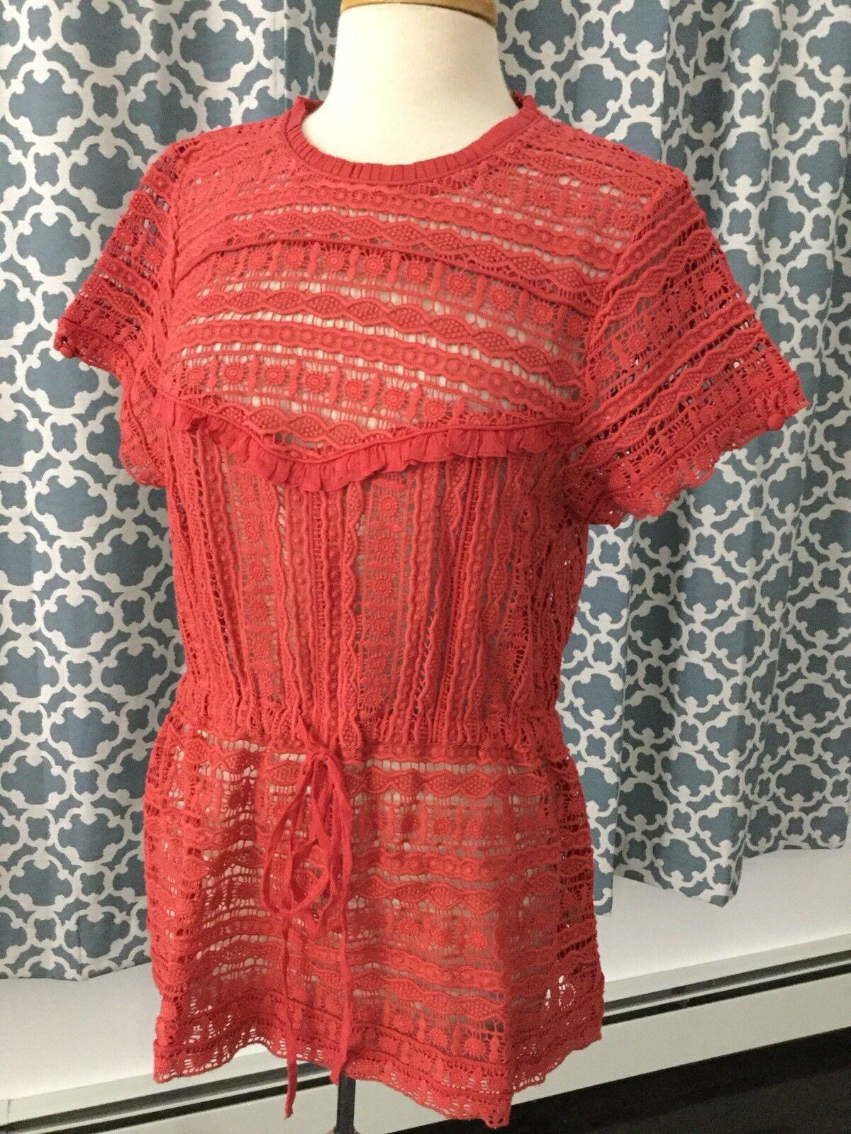 NEW  Carolina K Berenice Red Crochet Blouse Size XL