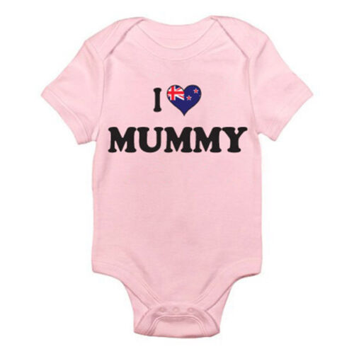 Romper Fun Themed Baby Grow I LOVE MUMMY New Zealand Mother Kiwi Mum