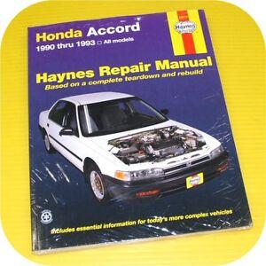 repair manual book honda accord 90 93 dx ex lx owners ebay rh ebay com 2013 Honda Accord Service Manual Honda Accord Maintenance Manual