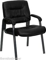 Office Chairs Waiting Room Black Leather Lobby Guest Reception Chair Padded