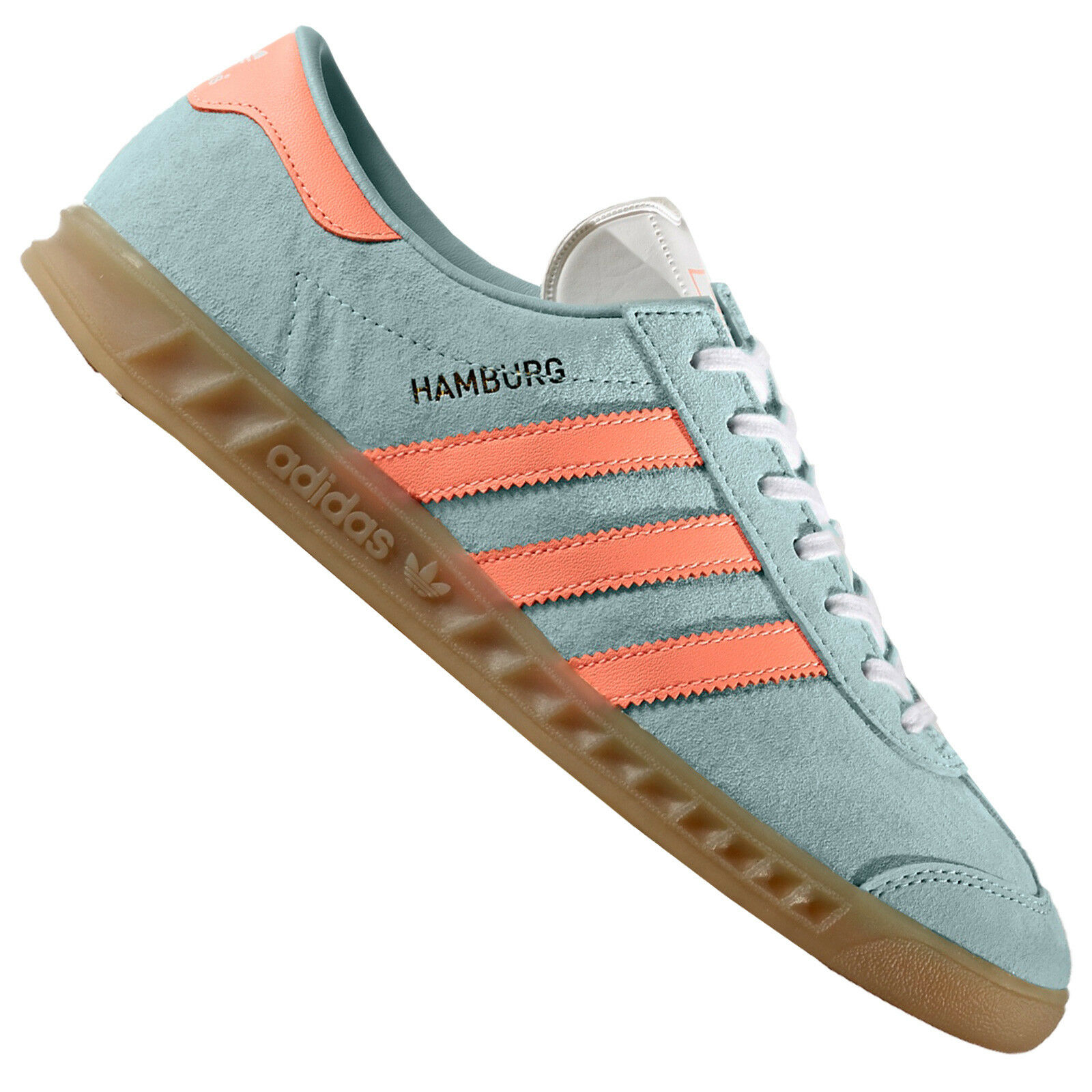Adidas Originals Hamburg Women's Sneakers Leather Trainers BB5111 Turquoise