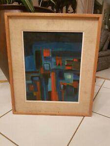 Tableau-Contemporain-composition-huile-sur-papier-annees-70