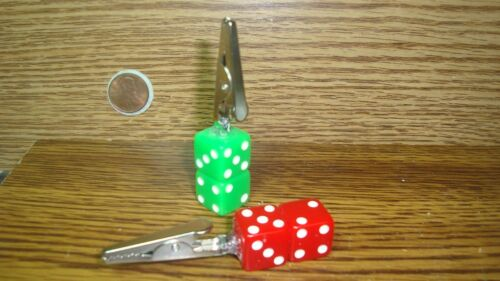 """#2 Two Lucky /""""7/"""" Double Stack Dice Memo Tobacco-Herb Alligator Roach Clips Red//G"""