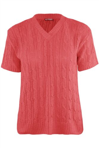 New Womens Ladies Chunky Cable Knitted V Neck Short Sleeve Pullover Jumper Top