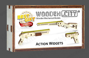 WOODEN CITY® Action Widgets Wooden Mechanical Models zur Selbstmontage!