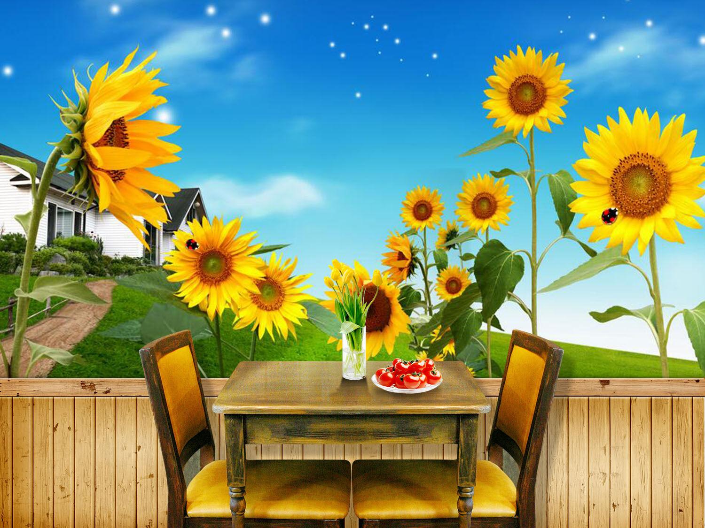 3D Villa Sonnenblueme Fototapeten Wandbild Fototapete Bild Tapete Familie Kinder