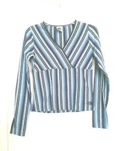 The-North-Face-Blue-Striped-Top-Shirt-Blouse-Long-Sleeve-V-Neck-Women-039-s-Size-M