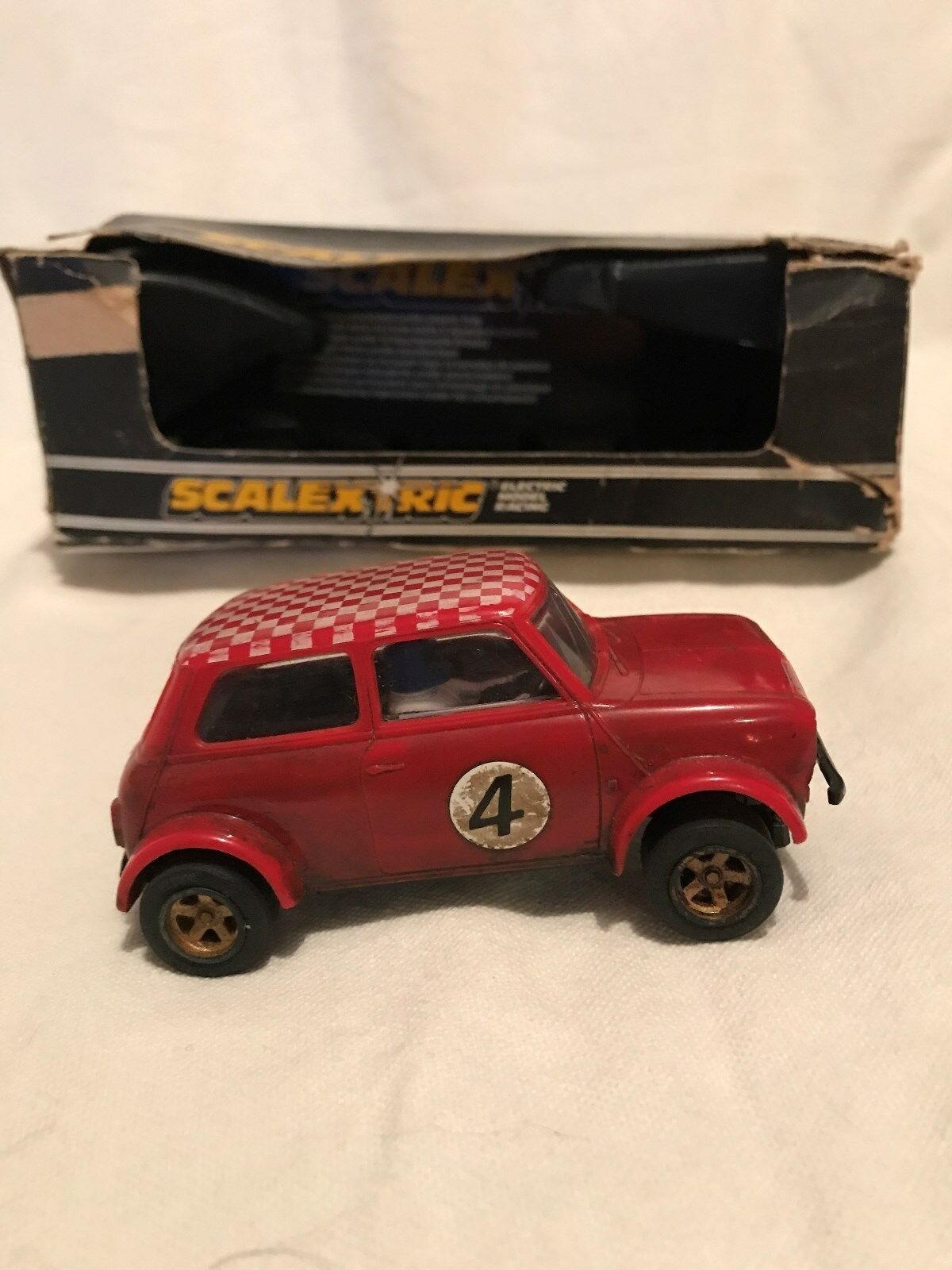 Vintage Scalextric Car Mini 1275 GT Rally Special. C122 Red Slot Car. No 4