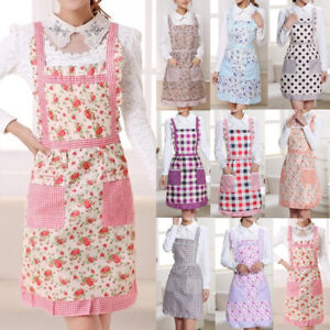 Women-Cooking-Chef-Kitchen-Home-Restaurant-Bib-Aprons-Dress-With-Pocket-Gift