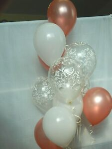 Rose Gold Balloons Clear Damask Fancy Decorations Birthday Party