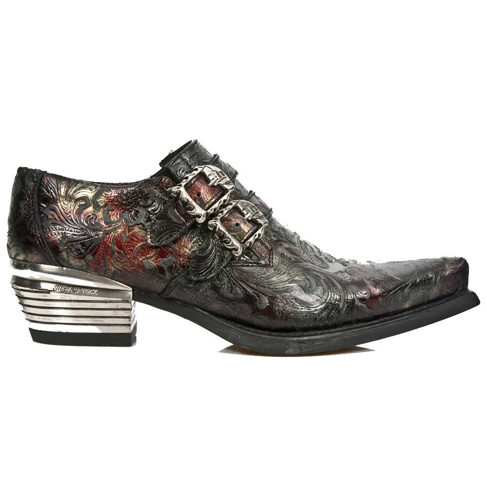 Grandes zapatos con descuento M.7960-S5 New Rock Mens Red Leather Cuban Style Shoes from the Dallas Collection