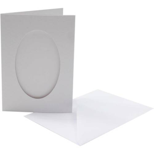 Pack of 5 x White Blank Oval C6 Tri Fold Aperture Craft Cards with Envelopes