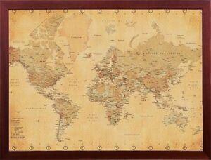 Framed Art Vintage World Map Print Brown Walnut Finish 24x36