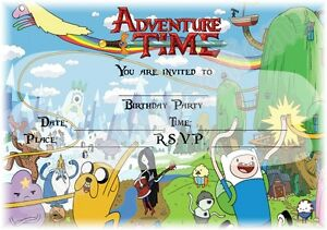 A5 CARTOON CHILDRENS PARTY INVITATIONS X 12 ADVENTURE TIME