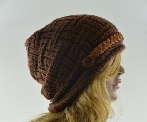 Leather Band Beanie Knit Crochet Cap Hat Beany Winter Fall Womens Fashion