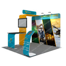10ft Portable Trade Show Display Booth Set Pop Up Stand Banner With Custom Print