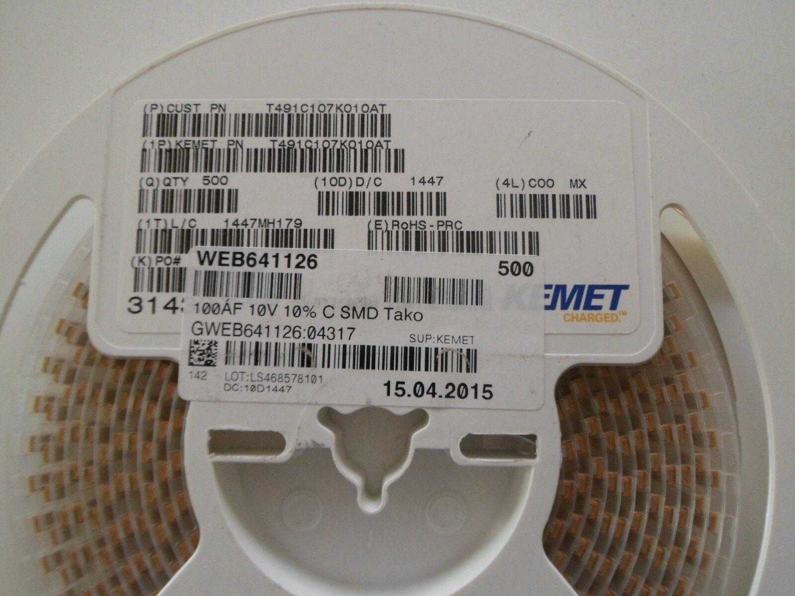 Kemet 100µF 10V 10/% T491C107K010AT Tantalkondensator SMD *Neu*