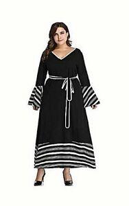 Details about NEW BLACK AND WHITE TRIM PLUS SIZE MAXI DRESS 3XL
