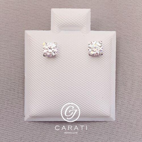 14K White Gold 0.4 Ct Diamond Round Cut Stud Earrings Minimalist Screw Back
