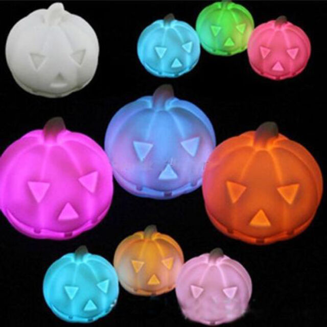 Colorful Led Pumpkin Party Decoration Prop Bedside Table Light Halloween Lamp 1×