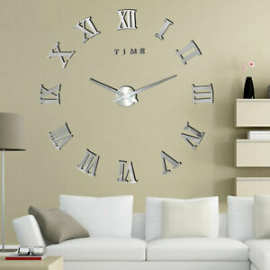 Reloj-de-pared-3D-DIY-superficie-del-espejo-Adhesivo-Decoracion-Metalico-new