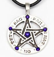 Pewter Pentagram Tetragrammaton Sapphire Crystal September Birthstone Pendant