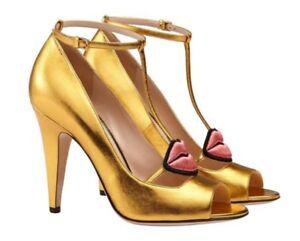 aaa9770f1531 GUCCI Molina T-Strap LIPS gold 5