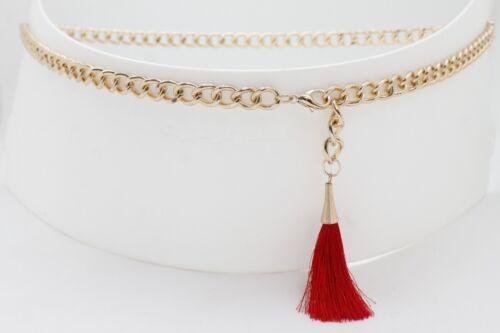 Women Chic Skinny Bling Belt Gold Metal Chain Red Tassel Buckle Plus Size XL XXL