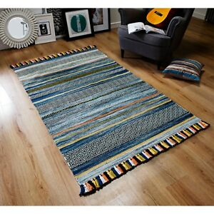 Kelim Ethnic Style Rug Blue Stripes