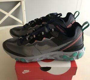 1a1a23bbe3b1 Nike React Element 87 Neptune Green 4-13 Black Grey AQ1090-005