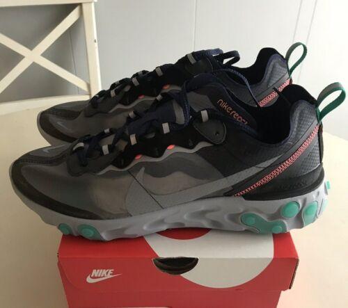 Nike React Element 87 Neptune Green 4-13 Black Grey AQ1090-005