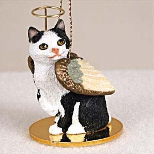 MANX BLACK WHITE ANGEL CAT CHRISTMAS ORNAMENT HOLIDAY  Figurine Statue