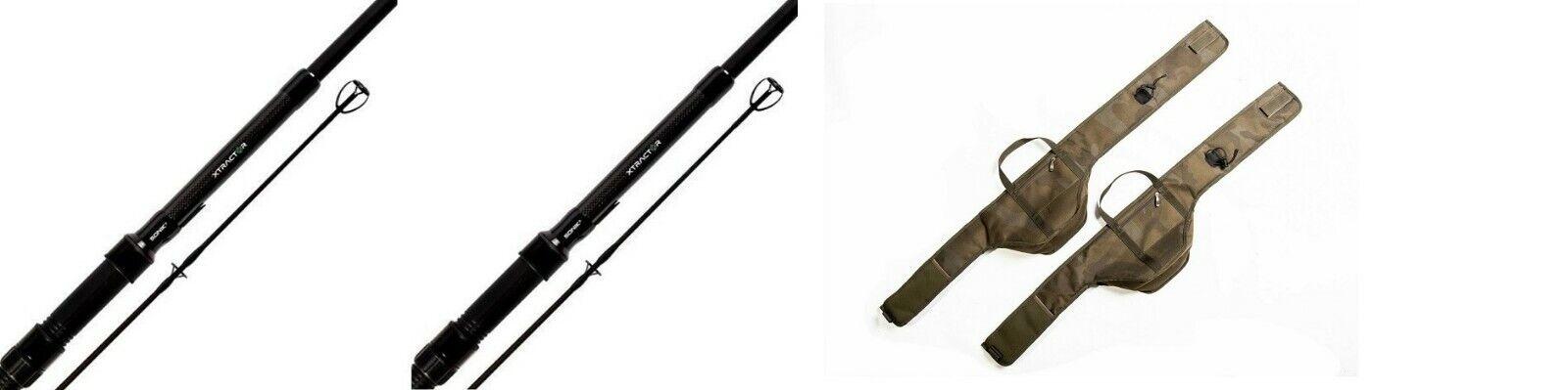 2 X Sonik XTRACTOR Carp Rods 9FT 3LB  + Xtractor Rod Sleeves