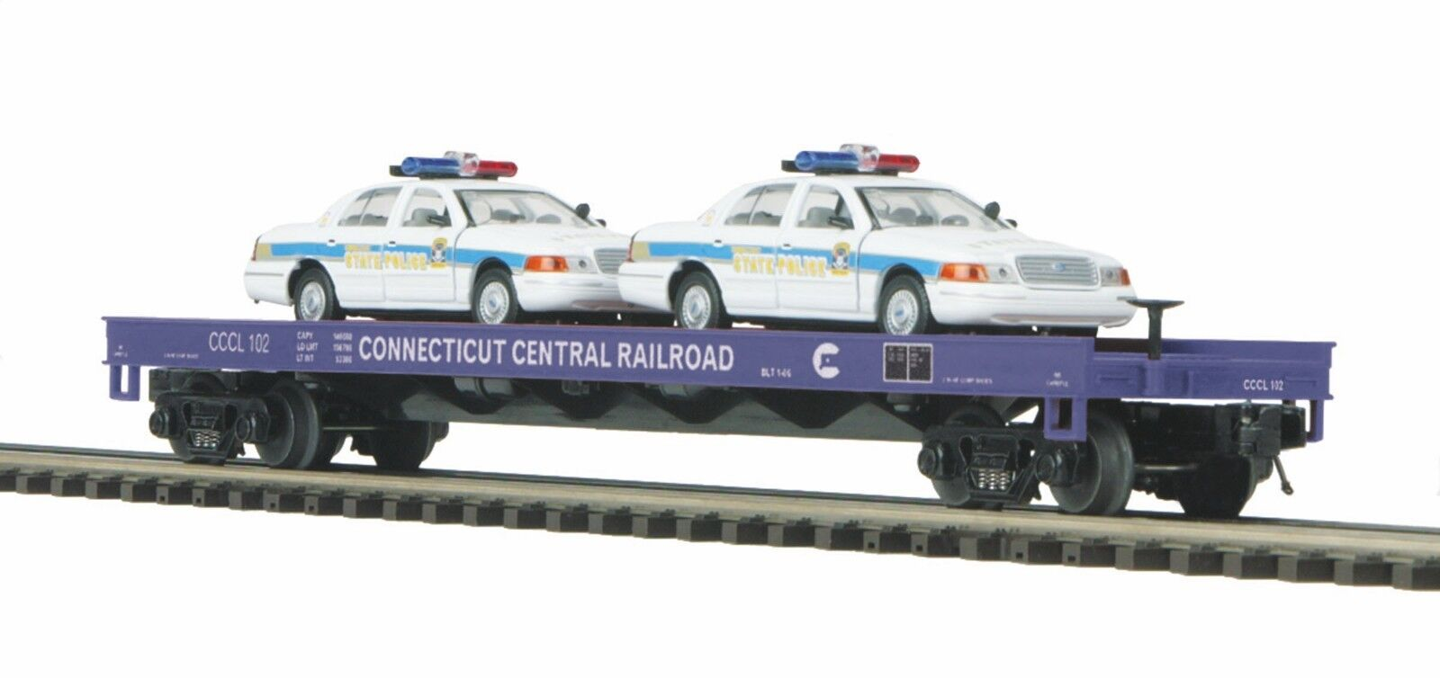 20-98519 Connecticut Flat Car w (2) Ford Police Cars MTH Premier