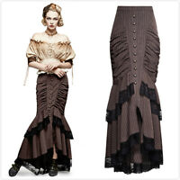 Punk Rave Q-306 Brown Pinstripe Gothic Steampunk Victorian Fishtail Long Skirt