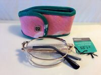 Folding Reading Glasses +1.25 Gold Frames With Free Case Mt1589r