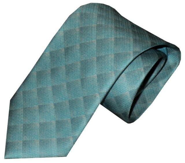 NEW BRIONI FADING TURQUOISE TONES OPTICAL OP ART BOX PATTERN 100% SILK NECK TIE