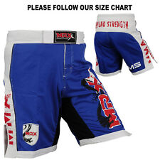 MRX MMA Fight Shorts Grappling Shorts UFC Blood Cage Fighter Blue White, L